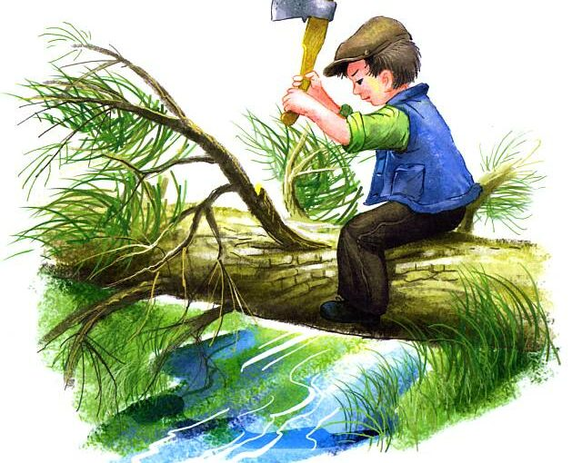 Пичугин мост - мальчик рубит дерево рисунок