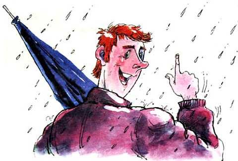 мужик под дождем