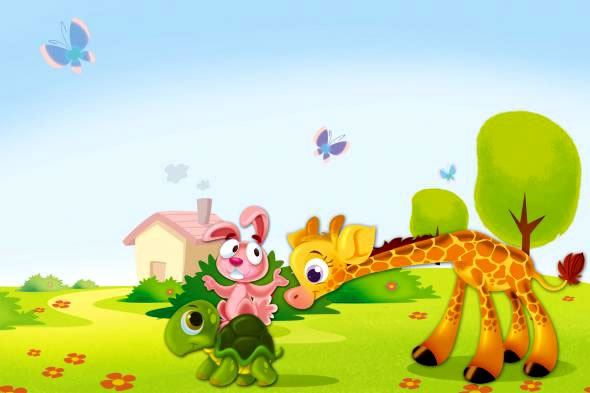 школа жираф, зайка и черепаха