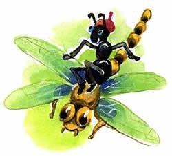 муравьишка летит на стрекозе рисунок