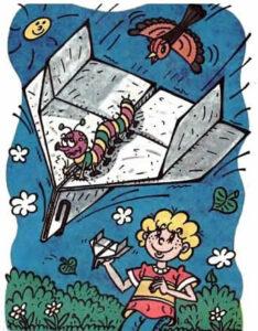 гусеница летит на бумажном самолете