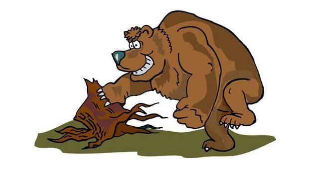 медведь играет на пне