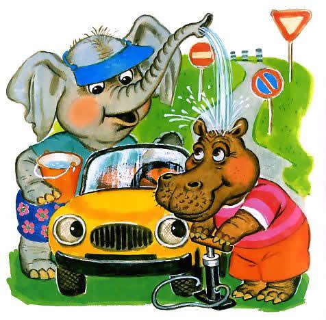 Как слон и бегемот нашли машину - сказка