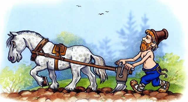 мужик на лошади пашет плугом землю - сказка