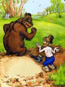 сказка для малышей Вершки и корешки, мыжик пашет медведь командует