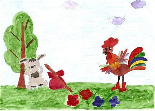 Рисунок школьника к сказке заюшкина избушка