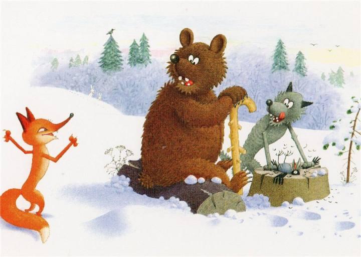Жили-были пятеро друзей: волк, медведь, лиса, верблюд и барсук